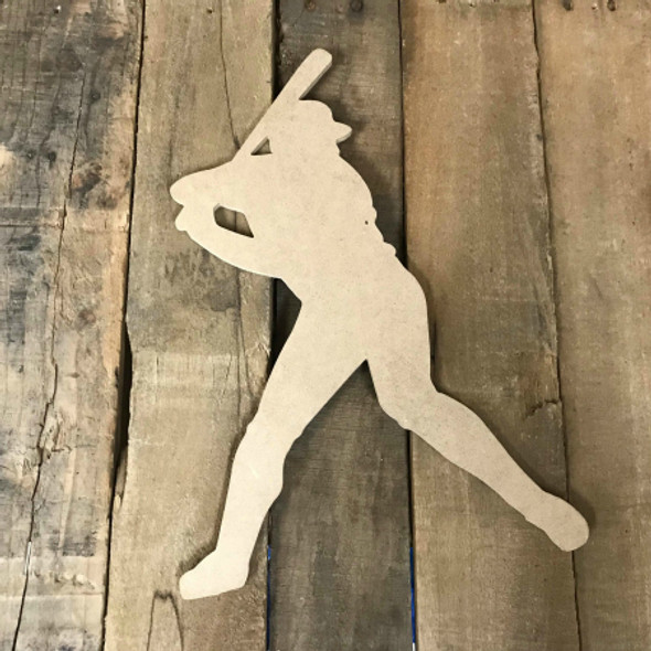 Baseball Player Batting Unfinished Wooden Craft Decor Wood Cutout MDF