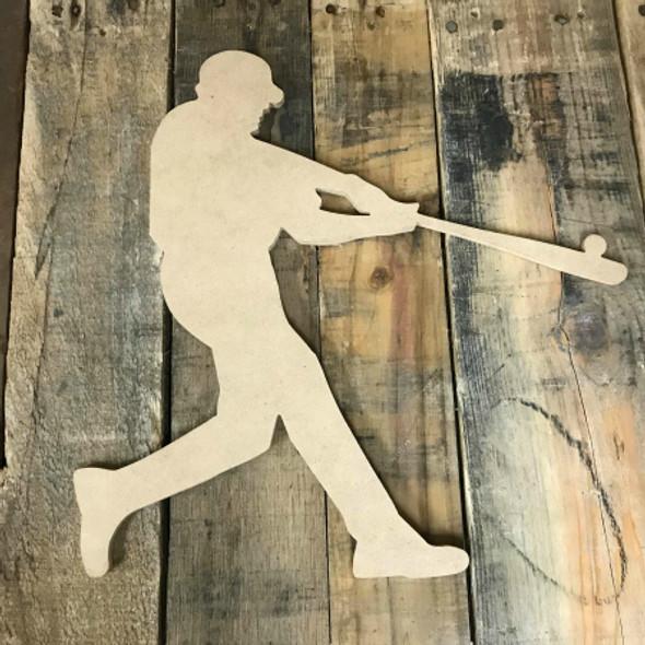 Baseball Hitting Ball Unfinished Wooden Craft Decor Wood Cutout MDF