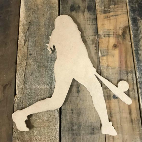 Softball Player Hitting Unfinished Wooden Craft Decor Wood Cutout MDF