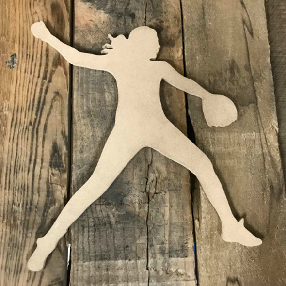 Softball Pitcher Unfinished Wooden Craft Decor Wood Cutout MDF