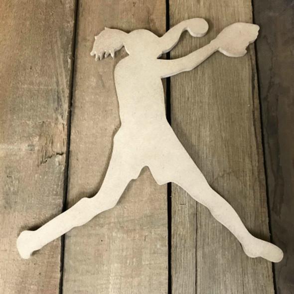 Softball Pitcher 3 Unfinished Wooden Craft Decor Wood Cutout MDF