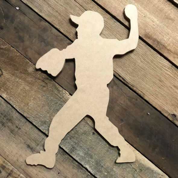 Tee Ball Player Throwing Ball  Unfinished Wooden Decor Wood Cutout MDF