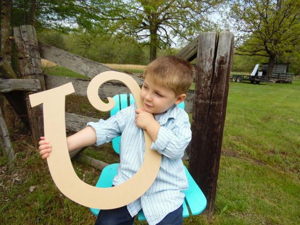 Custom Wooden Wall Letters Wooden lettering (U) Curlz Unpainted