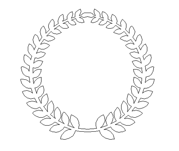 Roman Wreath - Plain No words Unfinished Cutout MDF