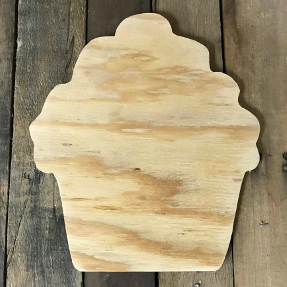 Wooden Pine Cutout, Cupcake, Unfinished Wood Shape, DIY Craft