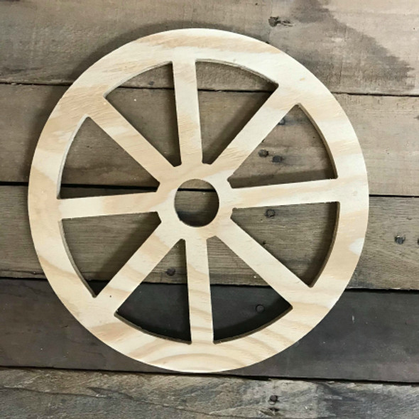 Wooden Pine Cutout, Wagon Wheel, Unfinished Wood Shape, DIY Craft