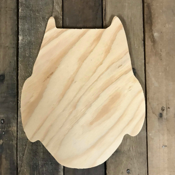 Wood Pine Shape, Owl, Unpainted Wooden Cutout Shape