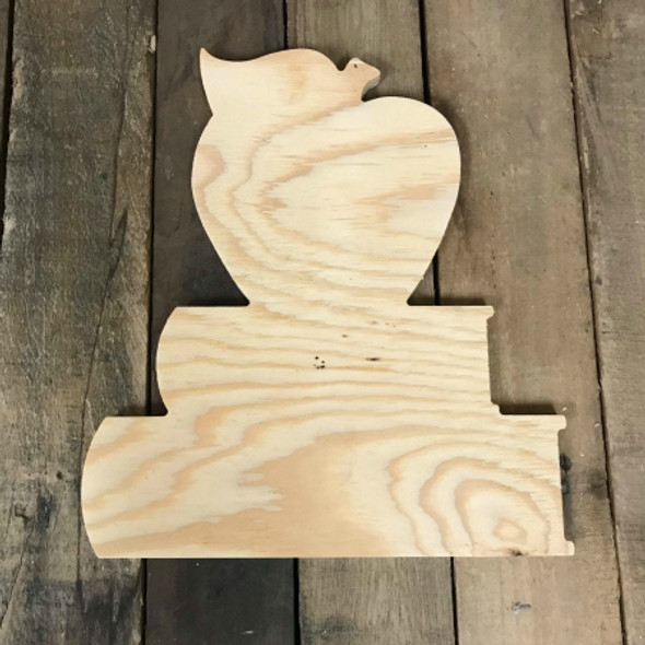 Wood Pine Shape, Apple on Books, Unpainted Wood Cutout Craft