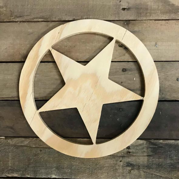 Wood Pine Shape, Texas Star, Unpainted Wood Cutout Craft