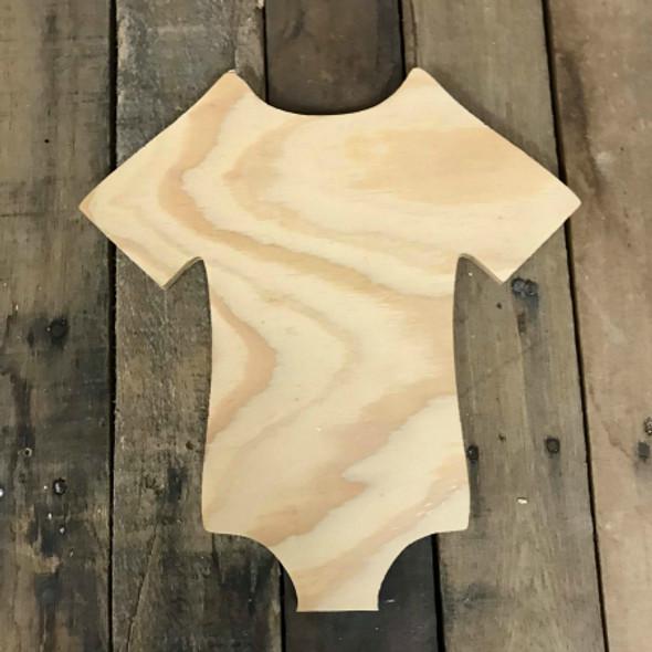 Wood Pine Shape, Onesie, Unpainted Wood Cutout Craft