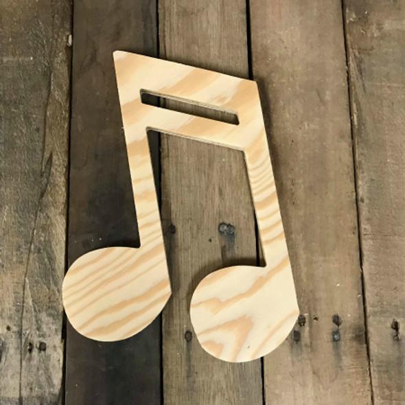 Wood Pine Shape, Sixteenth Note, Unpainted Wood Cutout