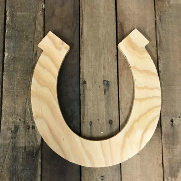 Wood Pine Shape, Horse Shoe, Unpainted Wooden Cutout