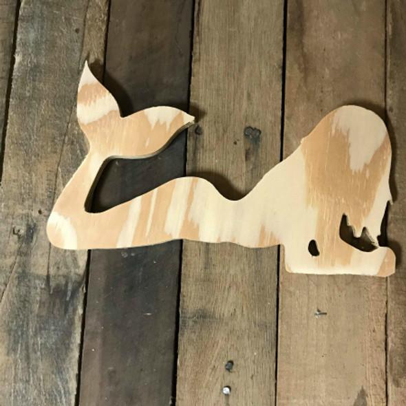 Wood Pine Shape, Mermaid, Unpainted Wooden Cutout DIY