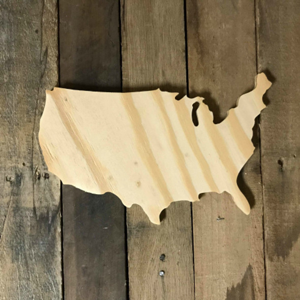 Wood Pine Shape, United States, Unpainted Wooden Cutout DIY