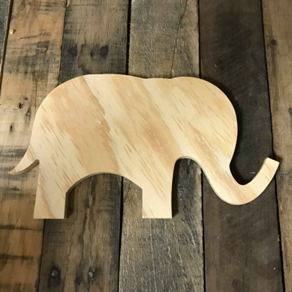 Wood Pine Shape, Cute Elephant, Unpainted Wooden Cutout DIY