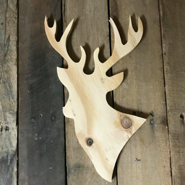 Wood Pine Shape, Deer, Unpainted Wooden Cutout DIY