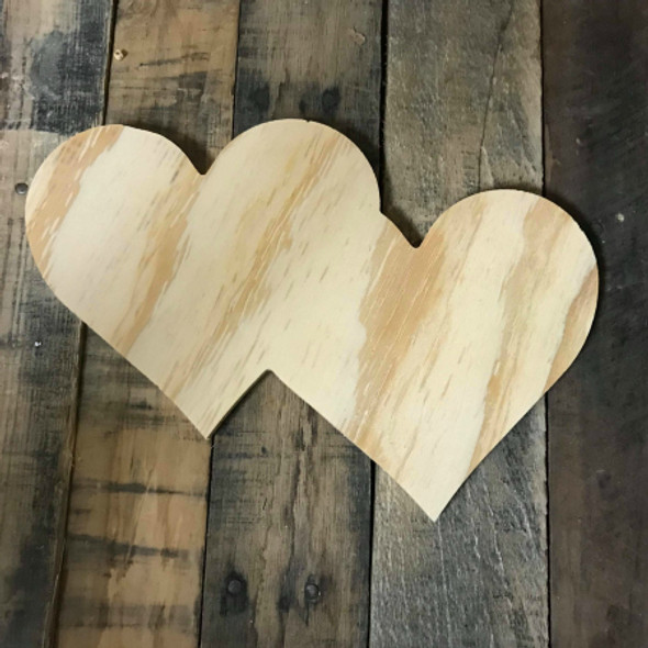 Wood Pine Shape, Double Heart, Unpainted Wooden Cutout DIY