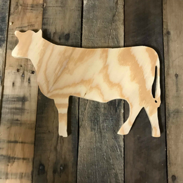 Wood Pine Shape, Cow, Unpainted Wooden Cutout DIY