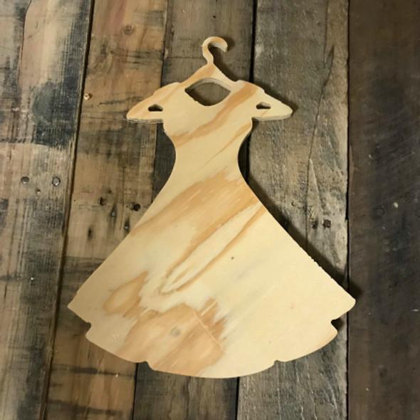 Wood Pine Shape, Dress on Hanger, Unpainted Wooden Cutout DIY
