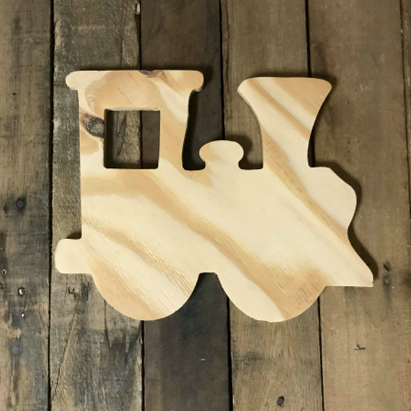 Wood Pine Shape, Train Engine, Unpainted Wooden Cutout DIY