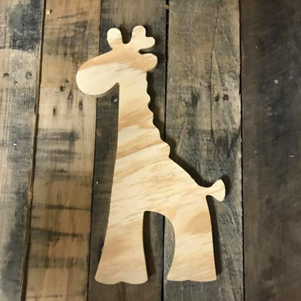 Wood Pine Shape, Children Giraffe, Unpainted Wooden Cutout DIY