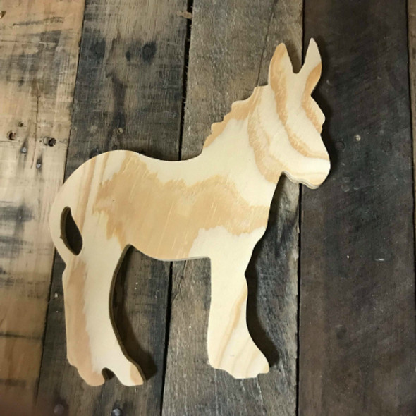 Wood Pine Shape, Donkey, Unpainted Wooden Cutout DIY
