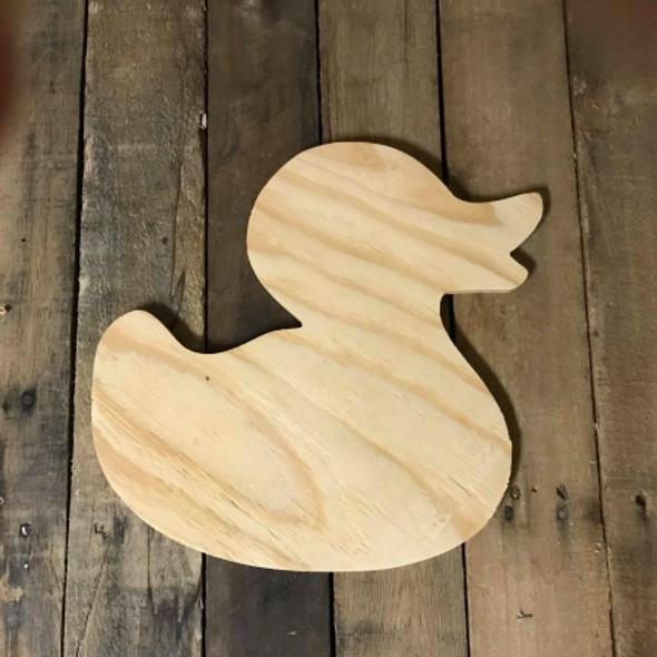 Wood Pine Shape, Rubber Duck, Unpainted Wooden Cutout DIY