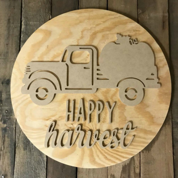 Happy Harvest, Unfinished Pine Circle Door Hanger, Wood Craft