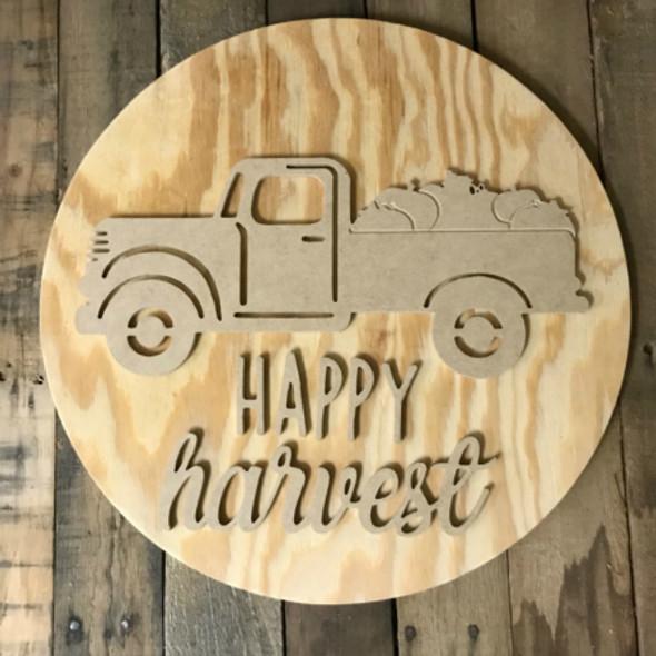 "Happy Harvest, Vintage Pumpkin Truck Door Hanger, Unfinished 18"" Pine Circle Sign Kit"