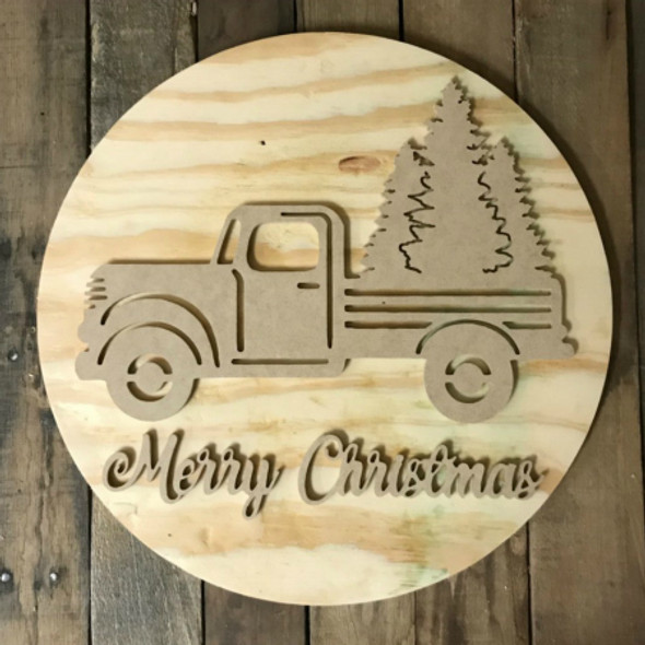 Merry Christmas, Unfinished Pine Circle Tree Door Hanger