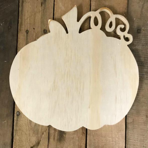 Pine Shape, Pumpkin with Vine, Unpainted Wooden Cutout DIY