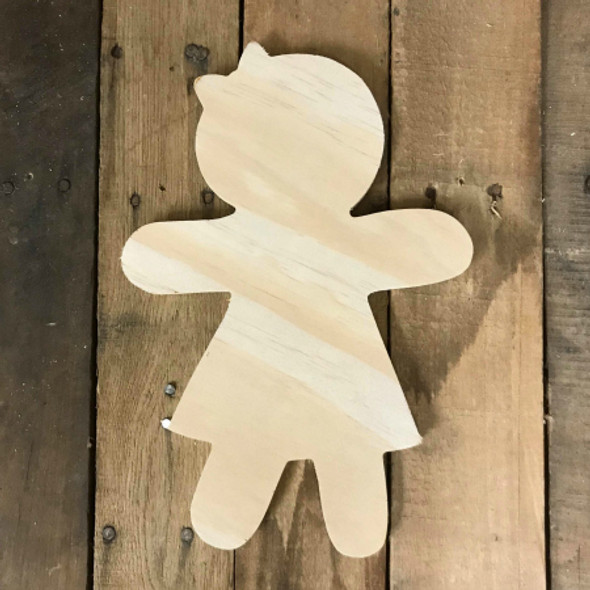 Wood Pine Shape, Gingerbread Girl, Unpainted Wooden Cutout DIY