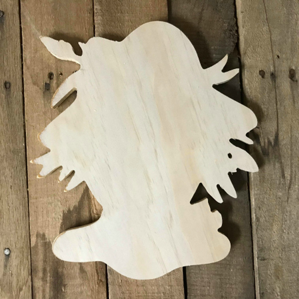 Wood Pine Shape, Scarecrow Head, Unpainted Wooden Cutout DIY