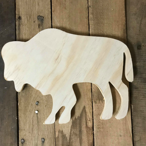 Wood Pine Shape, Buffalo, Unpainted Wooden Cutout DIY