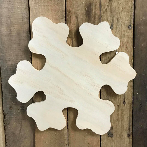 Wood Pine Shape, Snowflake, Unpainted Wooden Cutout DIY