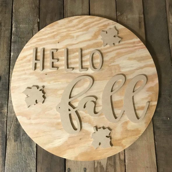 """HELLO Fall, Unfinished 18"""" Pine Circle Sign Kit, Fall Door Hanger"""