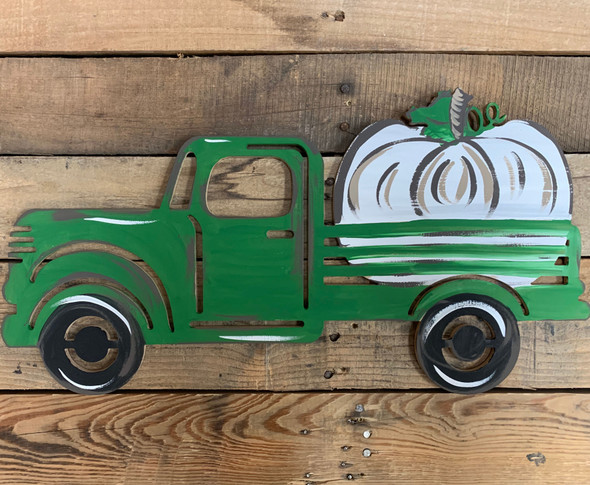 Truck with Pumpkin Cutout Unfinished Wooden Fall Cutout Craft