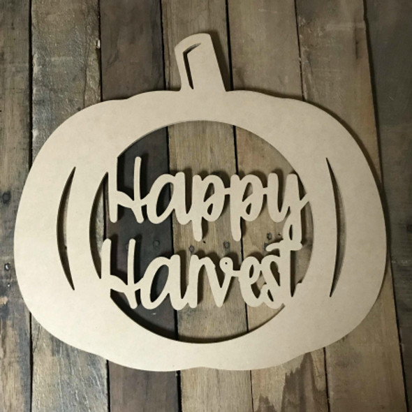 Happy Harvest Framed Pumpkin Wooden (MDF) Cutout