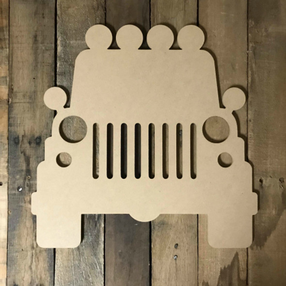 Jeep with Grill  Unfinished Wood Shape, DIY, Shapes Cut out