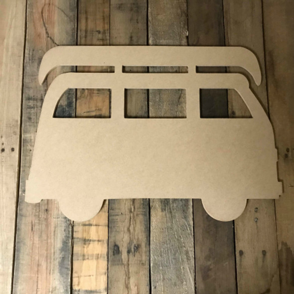 Volkswagen Van With Canoe  Unfinished Wood Shape, DIY Shapes