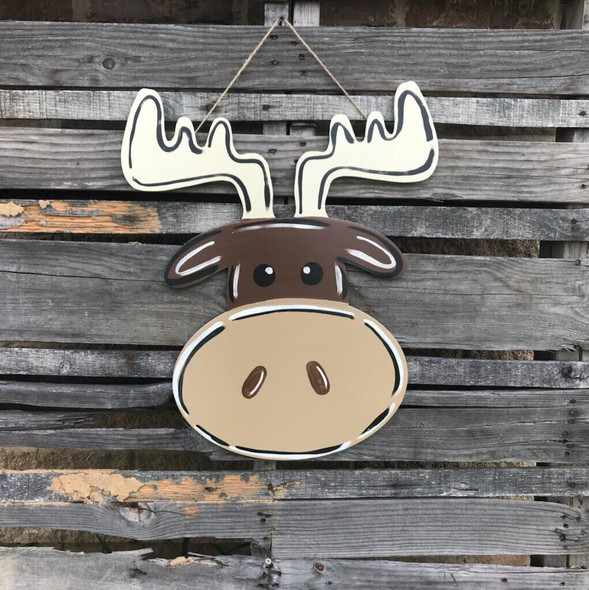 Moose Head, Unfinished Wood Shape, DIY, Shapes Cut out