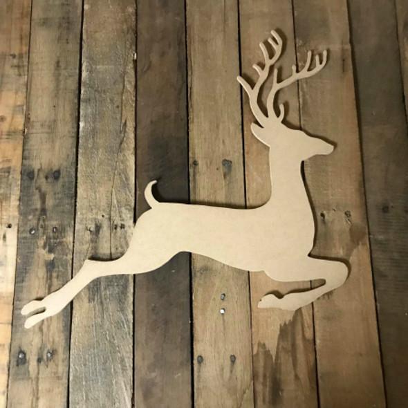 Reindeer Jumping, Christmas Shape,  Unfinished Wood Shape, DIY