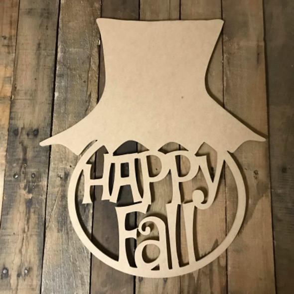 Happy Fall, Scarecrow Hat Framed Pumpkin Wooden (MDF) Cutout