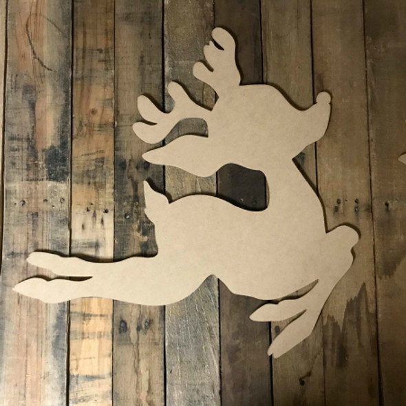 Rudolph Leaping, Unfinished Wood Shape, Christmas Cutout