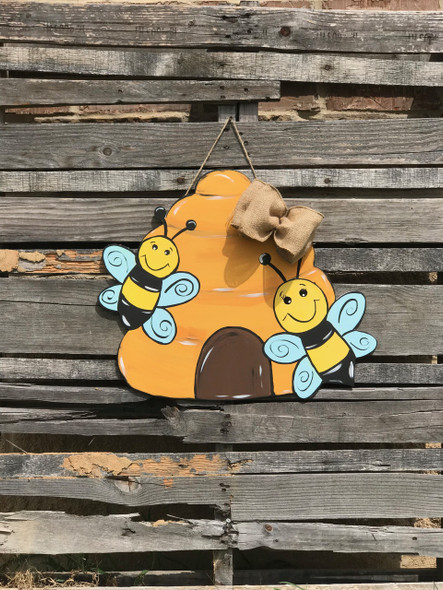 Bees in Hive, Unfinished Wood Shape, Fall Cutout