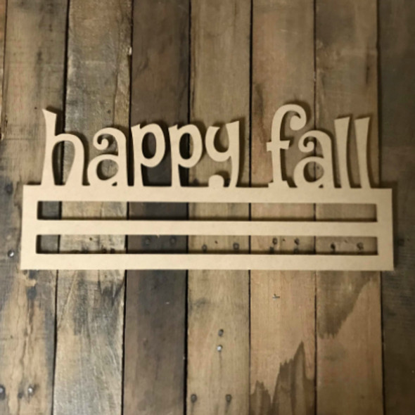 Happy Fall, Deco Mesh Door Hanger, Unfinished Wood Craft