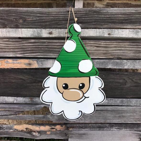 Wooden Gnome Santa Head, Wood Door Hanger, Unfinished Cutout