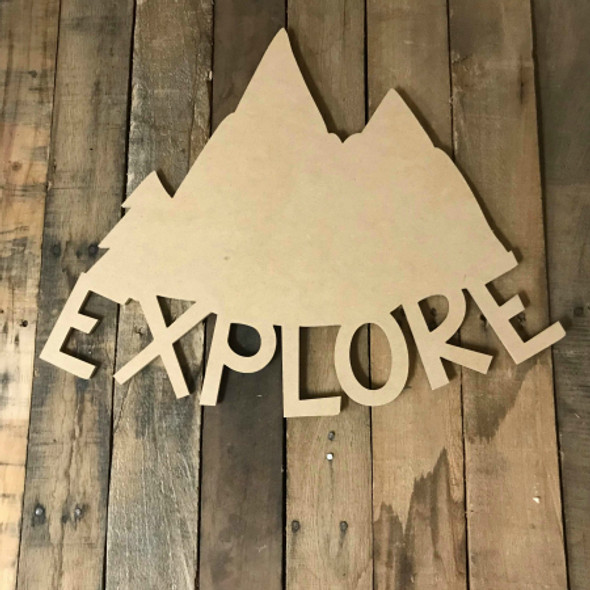 Explore Mountains, Unfinished Wood Shape