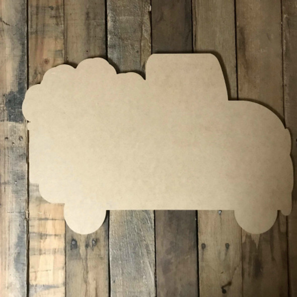 Truck with Cotton,  Craft Unfinished Wood Shape, Fall Wood Cutout