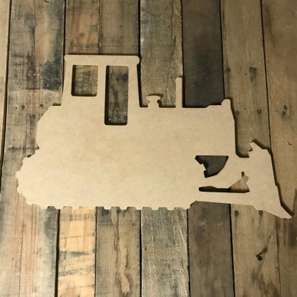 Bulldozer, Paint-able Craft Unfinished Wood Shape, Wood Cutout